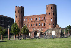 The Palatine Gate (Porta Palatina), Turin Stock Images