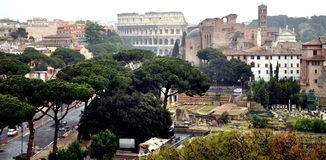The Palatine Hill & Colosseum stock images