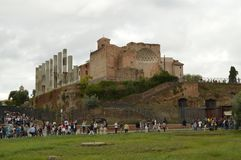 Palatine hill of Rome and numerous tourists visiting the sights of the center of Rome, Italy, October 7, 2018 royalty free stock images