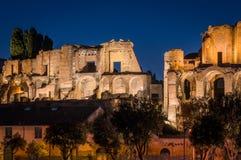 The Palatine Hill ruins illuminated at sunset, in Rome, Italy. stock photo