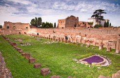Palatine Stadium ruins background Domus Augustana ruins in Palat Stock Photo