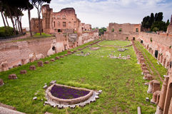 Palatine stadium ruins in palatine hill at Rome Stock Photography