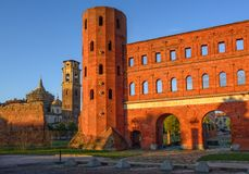 The Palatine Towers and the Cathedral of Turin, Turin, Italy Stock Photos