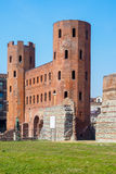 Porte Palatine ancient romans towers in centre of Turin, Italy Stock Photo