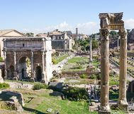 Palatino的古老罗马废墟看法从穆塞伊Capit的 免版税图库摄影