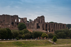 Palatium in ruins. Image of the Palatium seen over the remainings of the Circus Maximus in Rome, Italy stock photo