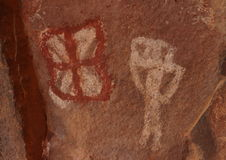Palatki Petroglyphs. Petroglyphs at the Palatki site in the Coconino National Forest Stock Photo