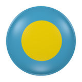 Palau button on white background. 3d rendering of a Palau flag on a button Royalty Free Stock Photo