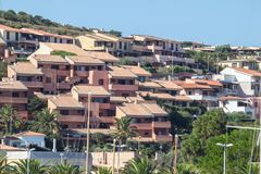 Palau city, Sardegna, Italy. Bright houses in Palau on Sardegna island, Italy stock image