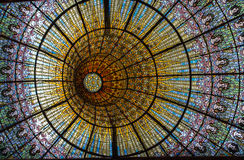 Palau de La Musica Catalana. The amazing colorful painted stained glass ceiling of Palau de La Musica Catalana building Barcelona, Spain royalty free stock photography