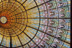 Palau de La Musica Catalana. The amazing colorful painted stained glass ceiling of Palau de La Musica Catalana building Barcelona, Spain stock photos