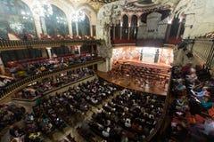 Palau de la Musica Catalana with audience, Spain Stock Photos