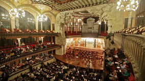 Palau de la Musica Catalana with audience, Spain stock video footage