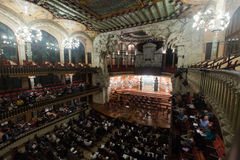 Palau de la Musica Catalana with audience, Spain. BARCELONA, SPAIN - NOVEMBER 26, 2015: Audience and orchestra at the concert Cicle Caral Orfeo Catala in music stock photos