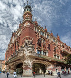 Palau de La Musica Catalana. The Palau de La Musica Catalana building with its sculptures on a corner of downtown Barcelona, Spain royalty free stock photography