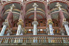 Palau de la Musica Catalana, Ribera Quarter, Barcelona, Spain. Designed in the Catalan modernista style by the architect Lluís Domenech i Montaner, it was stock photography