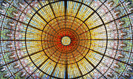 Palau de la Musica Catalana skylight of stained glass, Barcelona, Spain Royalty Free Stock Images