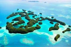 Palau eilanden van hierboven Stock Afbeeldingen