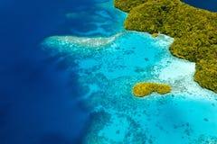 Palau eilanden van hierboven Stock Foto