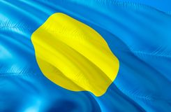 Palau flag. 3D Waving flag design. The national symbol of Palau, 3D rendering. The national symbol of Palau background wallpaper. 3D ribbon, wallpaper, pattern stock image