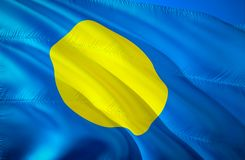 Palau flag. 3D Waving flag design. The national symbol of Palau, 3D rendering. Palau 3D Waving sign design. Waving sign background. Wallpaper. 3D pattern royalty free stock image