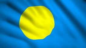 Palau flag Motion video waving in wind. Flag Closeup 1080p HD  footage stock illustration
