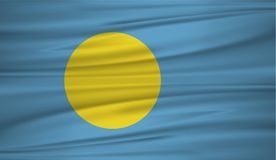 Palau flag vector. Vector flag of Palau blowig in the wind. EPS 10 Royalty Free Stock Images