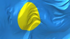 Palau Flag Waving in Wind Continuous Seamless Loop Background. stock illustration