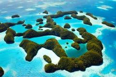 Palau-Inseln von oben Stockbilder
