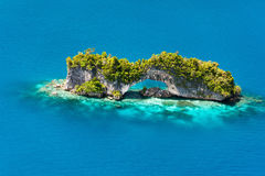 Palau islands from above. Beautiful view of The Arch landmark in Palau from above Royalty Free Stock Photography