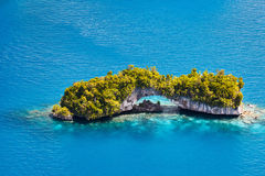 Palau islands from above. Beautiful view of The Arch landmark in Palau from above Royalty Free Stock Images