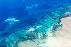 Palau islands from above. Beautiful view of Quirimbas archipilago in Mozambique from above Royalty Free Stock Images