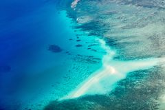 Palau islands from above. Beautiful view of Quirimbas archipilago in Mozambique from above Stock Photos