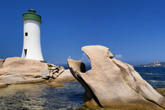 Palau-Leuchtturm in Sardinien, Italien Stockbilder