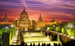 Palau Nacional de Montjuic en Barcelona, España fondos Azul Fotos de archivo