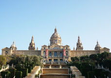 Palau Nacional with MNAC museum in Barcelona Stock Images