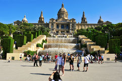 Palau Nacional in Montjuic in Barcelona, Spain Royalty Free Stock Images