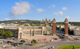 Palau Nacional in Montjuic hill in Barcelona Stock Photography