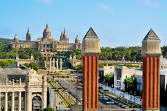 Palau Nacional in Montjuic hill in Barcelona Royalty Free Stock Photos