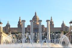 Palau Nacional (National art museum of Catalonia), Four columns and Magic fountain in Barcelona Stock Image