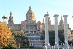 Palau Nacional (National art museum of Catalonia), Four columns and Magic fountain in Barcelona Royalty Free Stock Photos