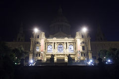 Palau Nacional (National art museum of Catalonia) on hill Montjuic at night in Barcelona Stock Image