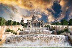 The Palau Nacional. Situated in Montjuic in sunset, Barcelona stock photos