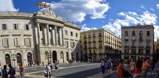 Palau Reial Royal Palace in catalan at Placa del Rei King`s Square, in the heart of Barri Goti stock photography