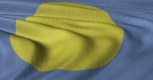 Palauisk flagga som fladdrar i ljus bris Royaltyfria Bilder