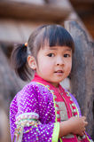 Palaung kid. CHIANGMAI,THAILAND - JANUARY 11, 2015: Unidentified Palaung kid in the Palaung traditional costume poses for the camera. Palaung people is a Stock Photos