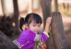 Palaung kid. CHIANGMAI,THAILAND - JANUARY 11, 2015: Unidentified Palaung kid in the Palaung traditional costume poses for the camera. Palaung people is a Royalty Free Stock Images