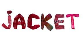 A palavra é alinhada com calças de brim e letras isoladas da sarja de Nimes na cor cor-de-rosa fotografia de stock