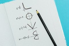 A palavra 'amor 'escrito por fórmulas e por gráficos de matemático, conceito fotos de stock