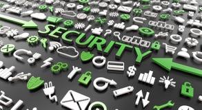 palavra 'da segurança 'com ícones 3d ilustração stock